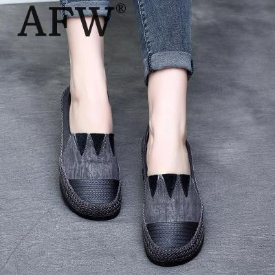 AFW Soft Leather Women Flats Slip On Spring Shoes 2018 Women Genuine Leather Loafers Gray Comfortable Low Heel Shoes Handmade cresfimix zapatos women cute flat shoes lady spring and summer pu leather flats female casual soft comfortable slip on shoes