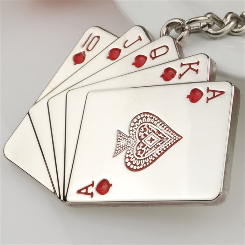 1 pc mini poker key chain cute red/black Metal keyring creative present for men ladies 2 colors keychains gift for fathers day