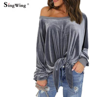 Singwing Women Velvet Long Sleeve T Shirts Sexy Loose Bow Shirts Tops O Neck Solid Color
