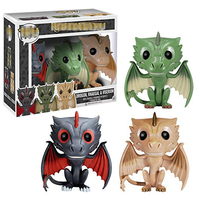 POP Action Game Of Thrones Movie Figure Toys Drogon Rhaegal & Viserion 3Pcs Collectible Dolls Gift Toy Dragons Of Daenerys Model
