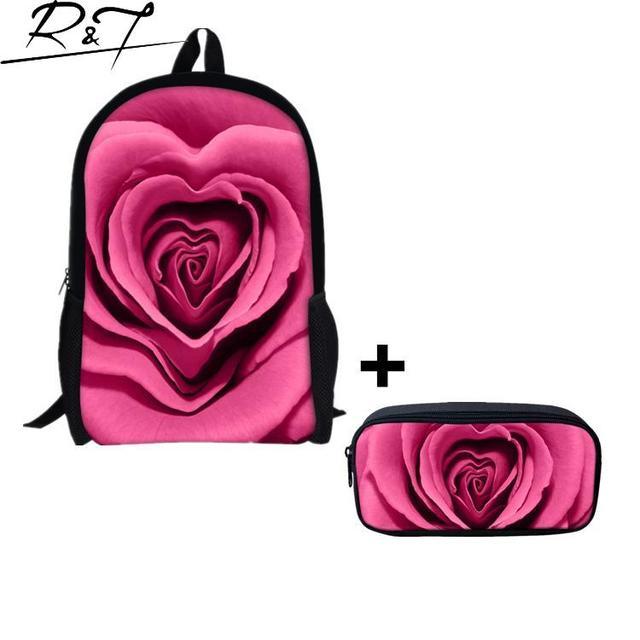 Розовыми Цветами Женщины Рюкзаки Школьные Сумки для подростков Девушки Туристические Рюкзаки Студентов Забронировать Мешки Случайные Рюкзаки Женщины Mochilas
