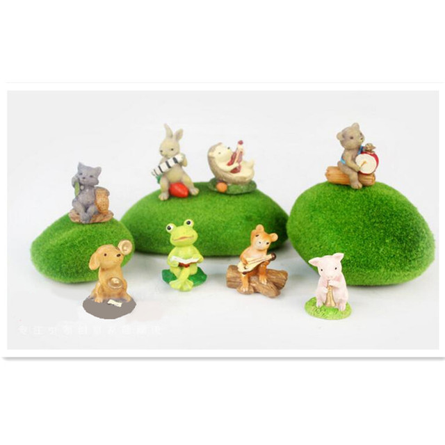 Mini Cartoon Animals Zoo Music Party Figuresbear Rabbit Dog Frog Anime Toy Garden Car Office Birthday Cake Decorations Children