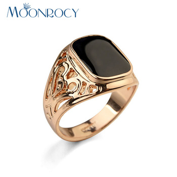 MOONROCY Jewelry Vintage Crystal Rings For Men Rose Gold / Silver Color Big Size Hollow Party Rings Drop Shipping Wholesale Gift 1