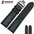 New hight quality Luxury Italy Genuine Leather Watch Strap 20mm 22mm Black with red|blue stitches Watchband