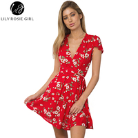 Lily Rosie Girl Women 2017 Red Sexy Deep V Neck Boho Floral Summer Mini Dress Empire