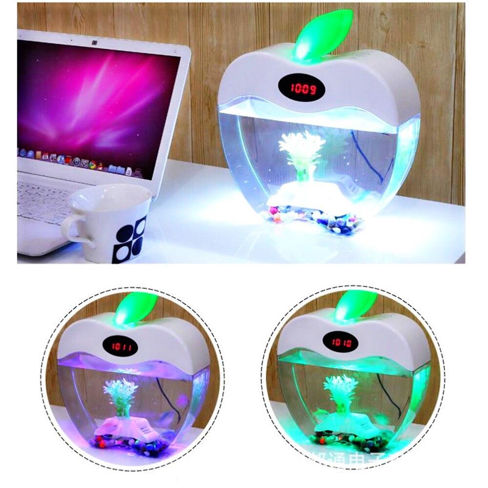 Aquarium USB Mini Aquarium avec LED veilleuse écran LCD et horloge Aquarium personnaliser D20 - 2