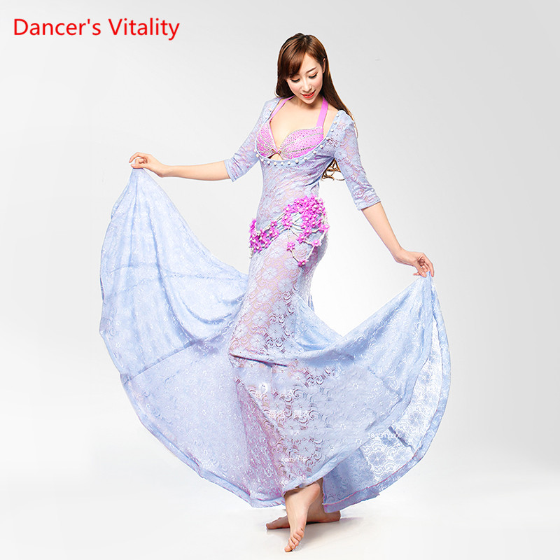 Personal Tailor Stage Performance Belly Dancing Clothes 2-piece Suit Bra&Three Dimensional Flowers Dress Belly Dance Costume Set
