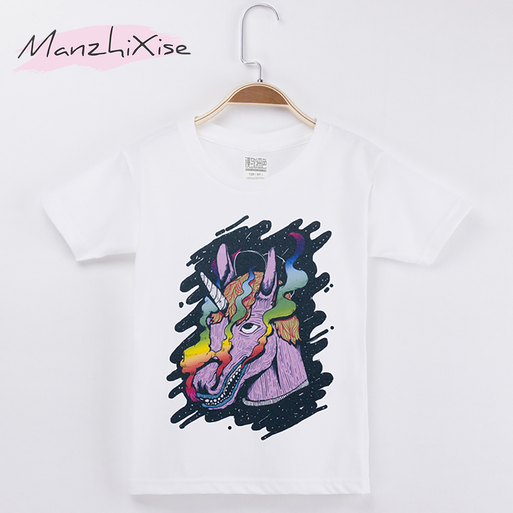 2018 Kids Clothes Chidren T-shirt Unicorn Horse Hand Painted 100% Cotton White Chid Short T Shirts Baby Girls Top Boys Camiseta