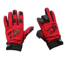 Daiwa Зимние перчатки для рыбалки анти-скольжение хлопок 3 пальца вырезать рыболовные перчатки фотография Туризм Спортивные перчатки Pesca
