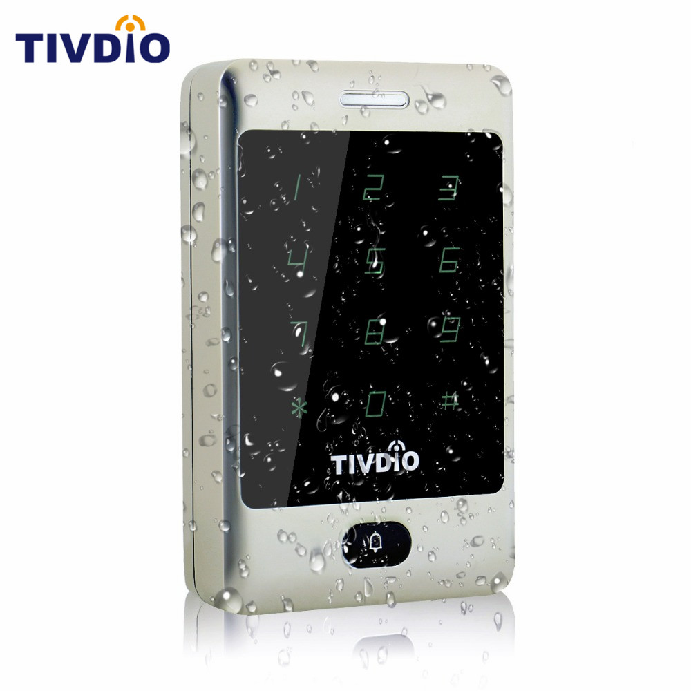 TIVDIO Standalone Touch Keypad Proximity For RFID Access Control System 125KHz Backlight Keypad ID Access Control Silver F9503D