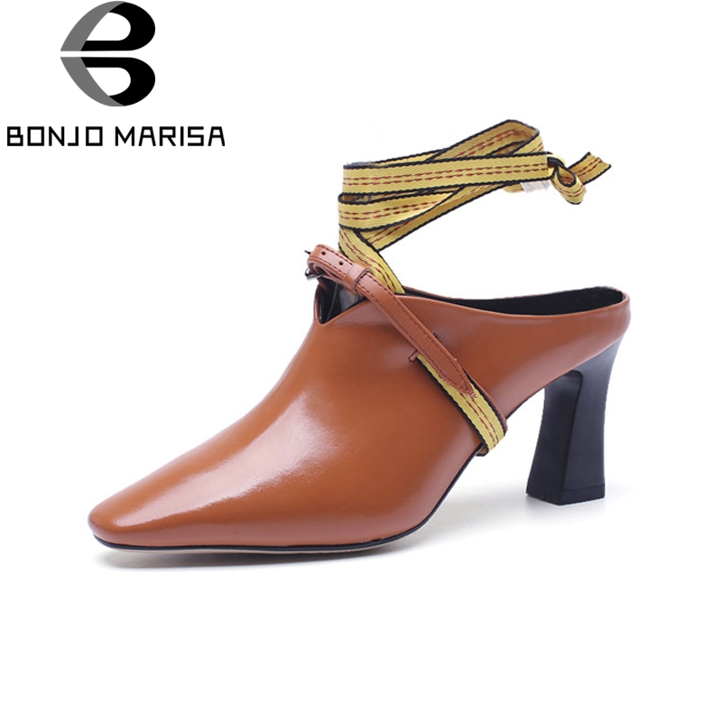 BONJOMARISA women's Genuine Leather Ankle Strap Square High Heels Solid Pointed Toe Shoes Woman Casual Spring Pumps Size 34-39 square heels 7 5 cm sapatos femininos high heels shoes woman round toe patent leather spring pumps t strap comfortable shoes
