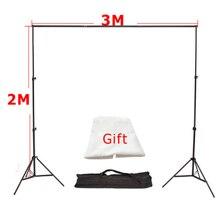 3เมตรx 2เมตรอลูมิเนียมสนับสนุนการถ่ายภาพฉากหลังพื้นหลังระบบยืนสตูดิโอ3เมตรข้ามบาร์+ 2เมตรแสงStandx2 +ฟรีฉากหลังผ้า* 1