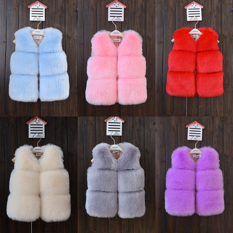 2018 New Winter Children Faux Fur Vests Girls Waistcoats Autumn Fashion Solid Color Fur Vests Baby Girl Sleeveless Jackets Coats цена 2017