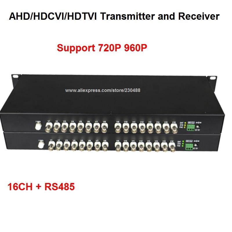 16 Canali 720 P/960 P HD CVI/AHD/TVI Converter Fibra Ottica a BNC Video Digitale convertitore Fibra Trasmettitore e Ricevitore Ottico
