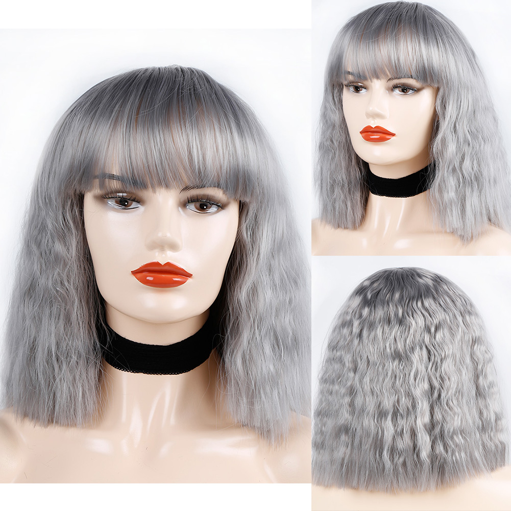 Bob Wigs With Full Bangs Water Wave 10inch Short Wigs For Women Synthetic Wigs Brown Purple Black Red Pink Gold Grey Wigs in Synthetic None Lace Wigs from Hair Extensions Wigs