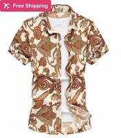 طباعة جديد الصيف قصير كم رجل قميص فاخر اللباس عارضة ضئيلة تناسب حجم كبير ماركة M-6xl شاطئ مريح بلوزة رجالية ، GX085