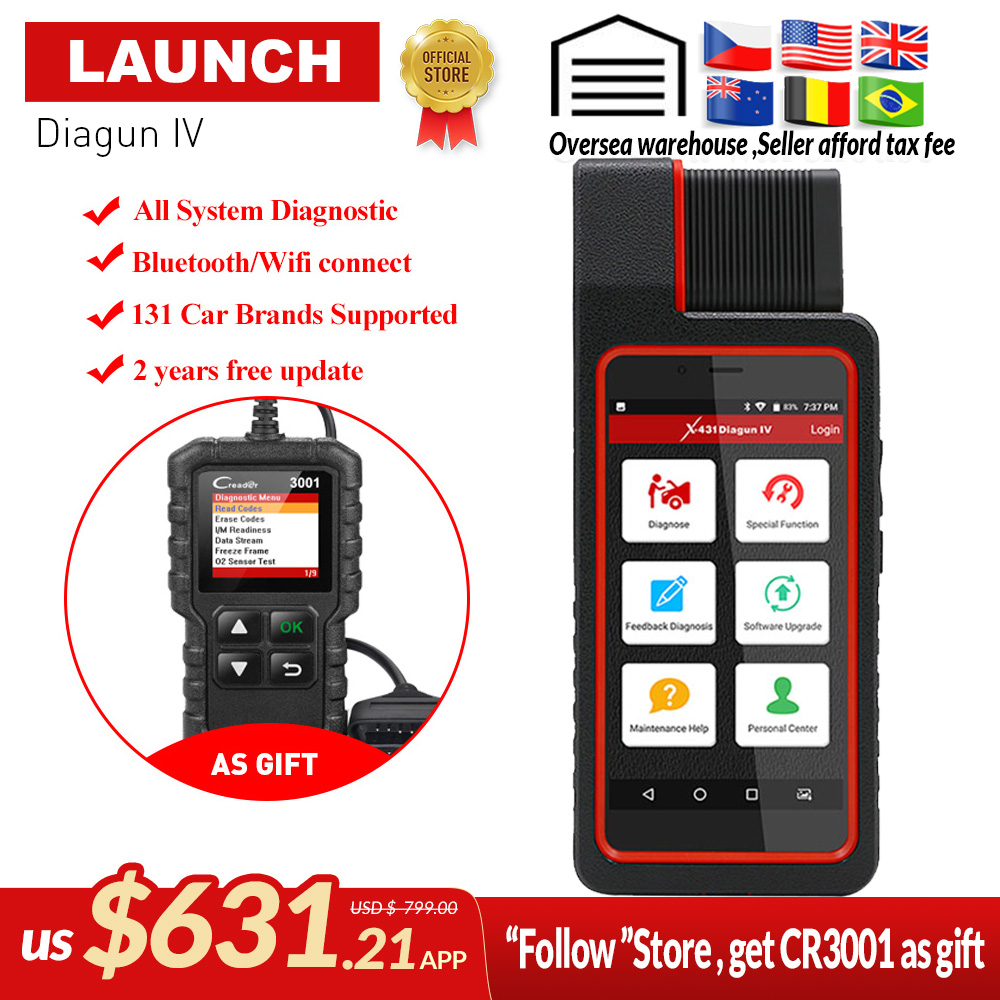 LAUNCH X431 Diagun IV Auto Full System Diagnostic Tool Support Bluetooth/Wifi with 2 Year Free Update better than diagun iii