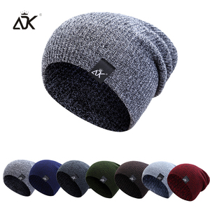Mixed Color Baggy Beanies For Men Winter Cap Women's Outdoor Bonnet Skiing Hat Female Soft Acrylic Slouchy Knitted Hat For Boys(China)