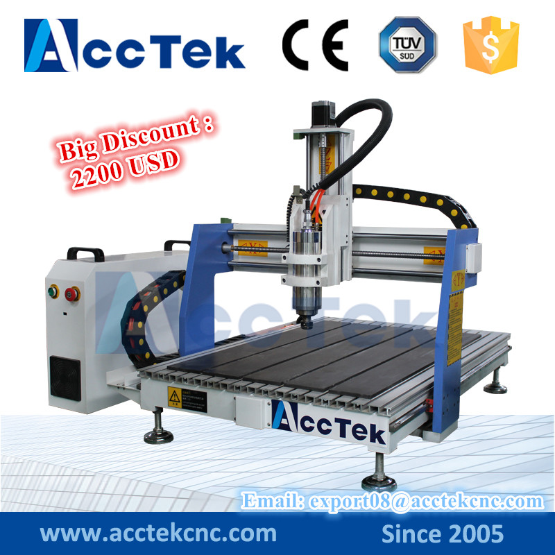 ACCTEK hot sale mini cnc router for metal engraving/ aluminum sheet carving cnc machine 6090 ce certificated jinan acctek cheap hot sale laser machine spare parts