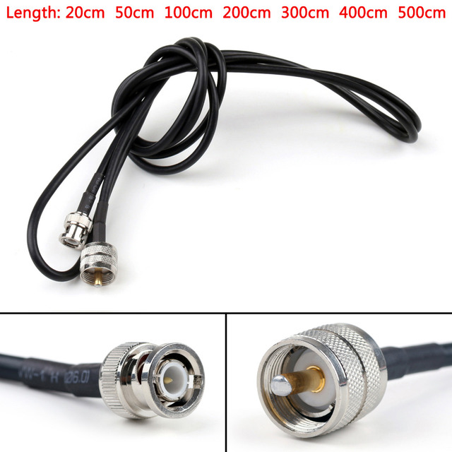 Areyourshop RG58 Cable PL259 UHF Male Plug To BNC Male Straight Crimp Coax Pigtail 20CM 50CM 100CM 200CM HIgh Quality Cable Wire