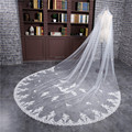 2017 Long New White Ivory Veu de noiva Wedding Accessories One-Layer Applique Edge with Appliques Wedding Veil Bridal veils