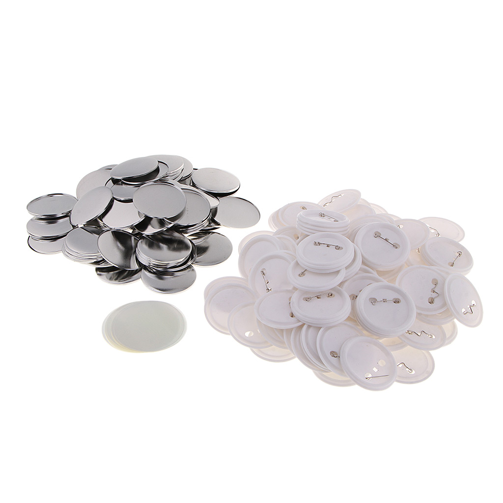 100 Sets 58mm Pin Badge Button Parts Crafts Supplies For Button Maker Machine, Acrylic And Metal