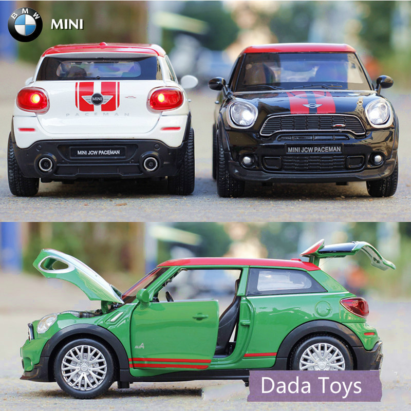 free shipping kids gift 132 cool die cast car model for mini paceman alloy cars toys 132 mini car with sound and light