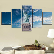 Canvas Paintings Home Decor 5 Pieces Statue Of Liberty Blue Sky Landscape Pictures Modular Wall Art HD Prints Poster No Frame(China)