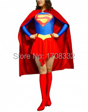 free shipping Red & Blue Superwoman Costume Full Body Zentai Suit Classic Superman costume For Adult/Kids/Custom Made