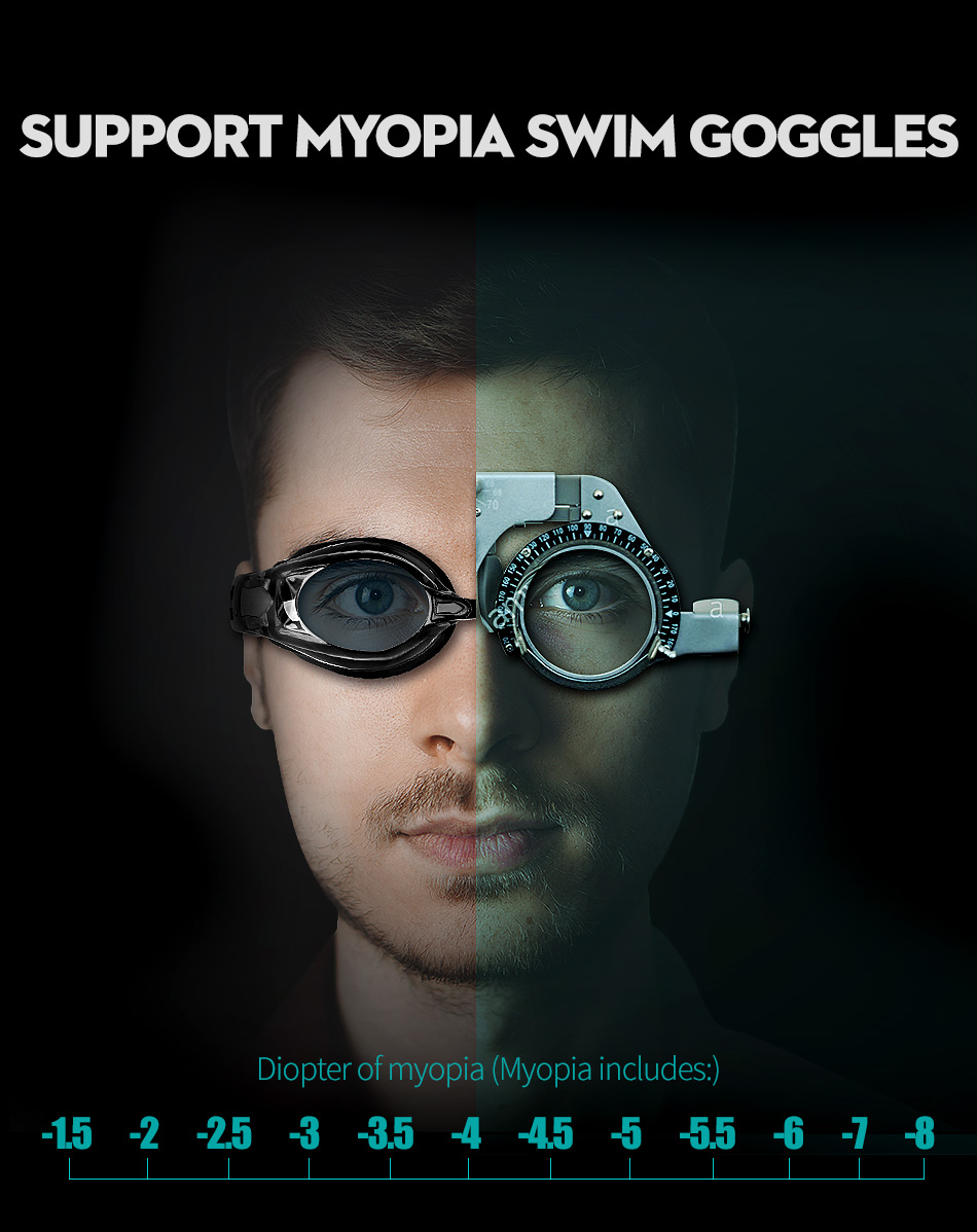 COPOZZ Myopia Pro Diopter Swimming Goggles 0 -1.5 to -8 With Double Anti Fog UV Protection 5
