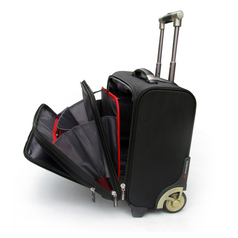LeTrend High grade Rolling Luggage Caster Men Business Oxford Suitcase Wheels 18 inch Carry on Trolley
