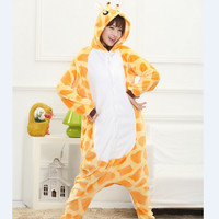 Unisex Adult Pajamas Giraffe Cartoon Cosplay Costume Animal Onesie Flannel Woman Sleepwear Suit Gift