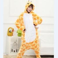 Unisex Adult Pajamas Giraffe Cartoon Cosplay Costume Animal Onesie Flannel Woman Sleepwear Suit Gift