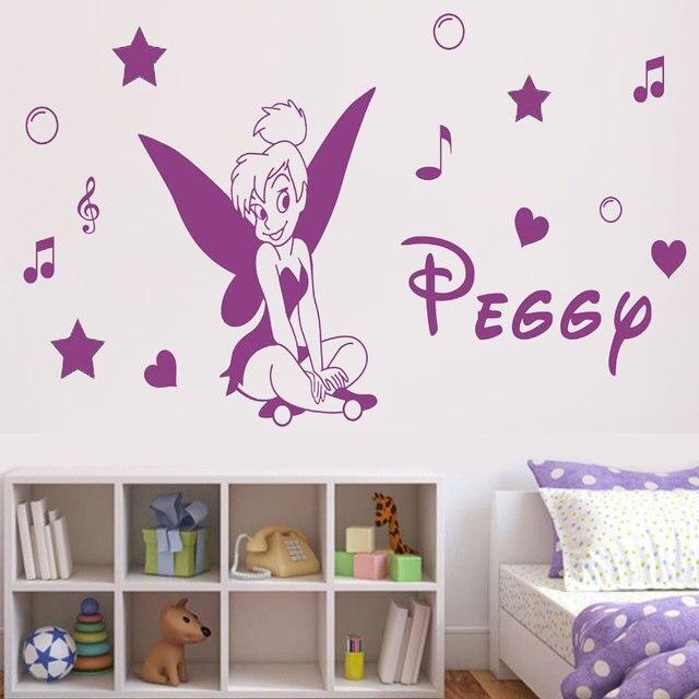 Customizable name, little fairy cartoon character, vinyl wall applique girl room home decoration wallpaper art mural DZ35
