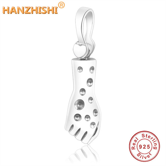 3285e97f0144 925 de plata esterlina del encanto del grano de brazo mano colgante Fit  Original de la