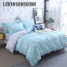 LOVINSUNSHINE King Duvet Cover Set Bedding Queen Size Simple Flower Blue Background  Comforter AB#1
