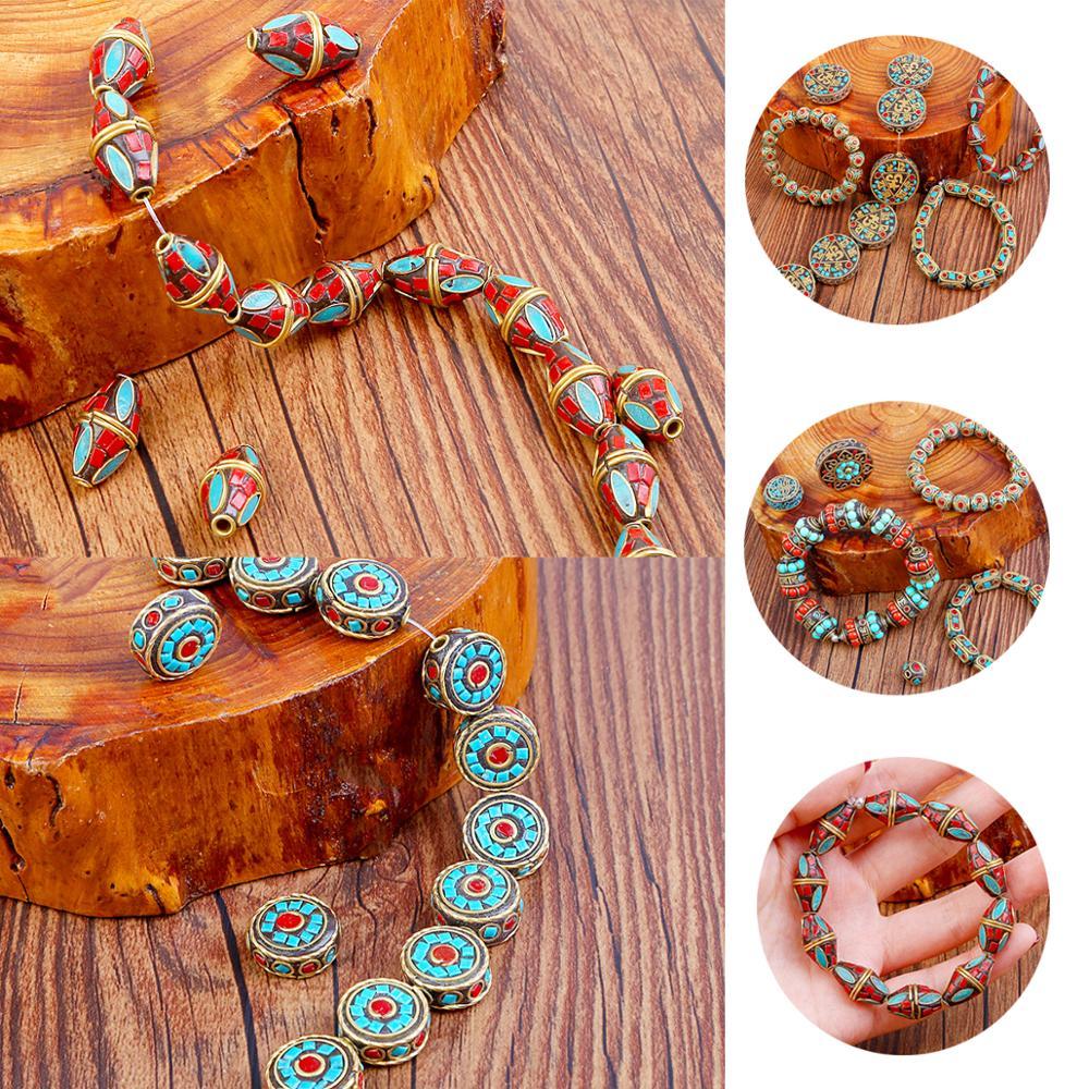 Perles corail rétro du népal, 24Styles, rouge, tibétain, Antique, doré, pour la fabrication de bijoux, tendance Bracelets à faire soi-même