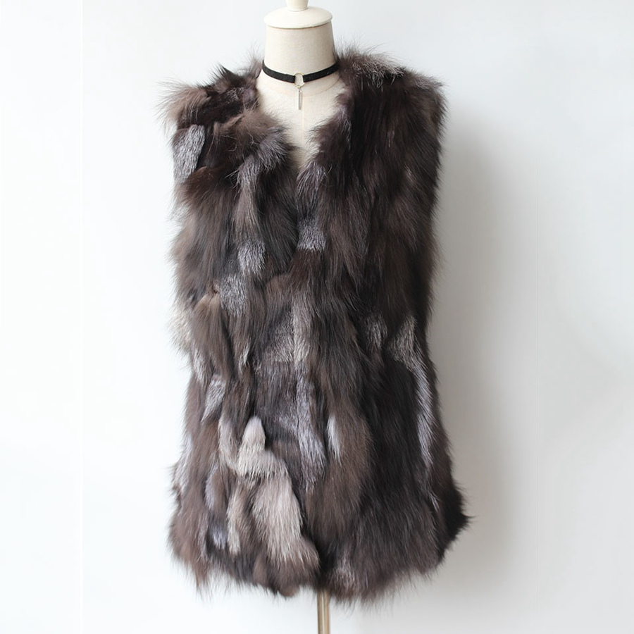 natural silver fox fur waistcoat middle long female winter slim piece sleeveless outwear coat for women v neck vest for autumn