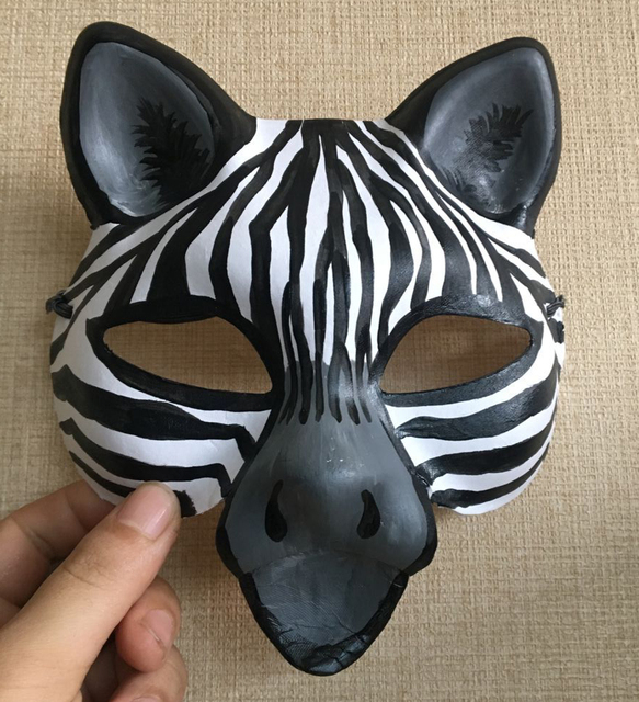 New Quality Handmade DIY Mask Halloween Cute Zebra Mask Cosplay Costume Paper Mache Pulp Mask & New Quality Handmade DIY Mask Halloween Cute Zebra Mask Cosplay ...