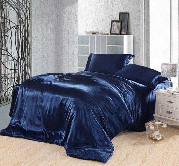 Tmavě modré povlečení sada hedvábí satén super král velikost královna dvojitá povlečení povlečení přikrývka přikrývky přehozy na postel doona povlečení 5ks