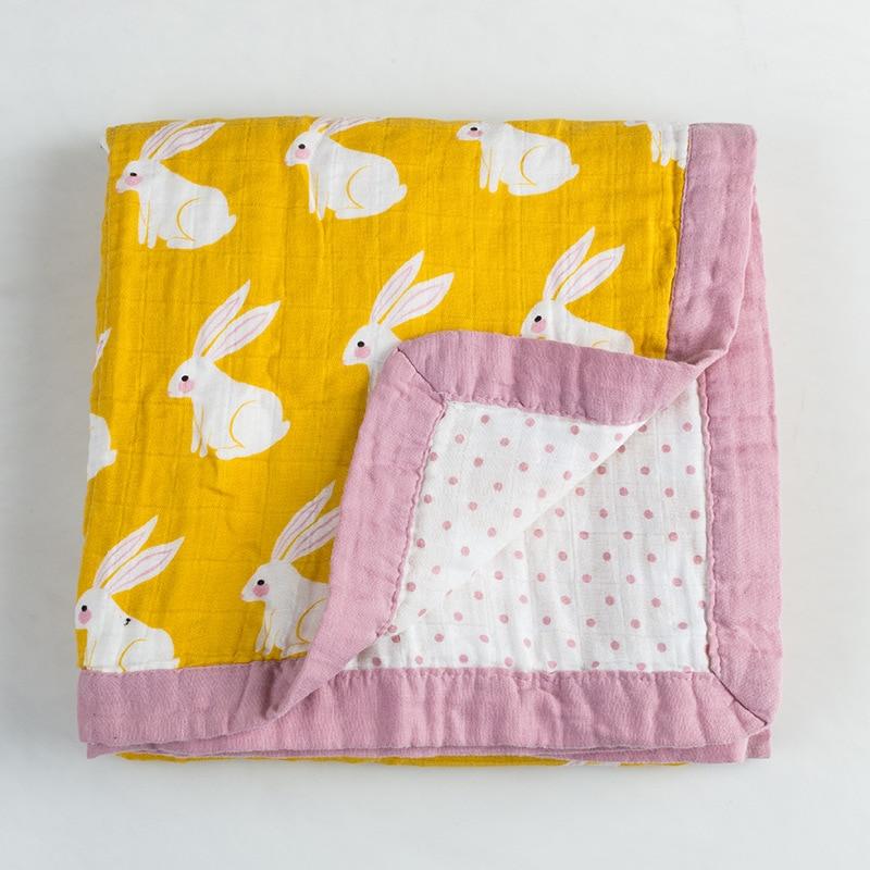 4 Layers Muslin Baby Swaddler Blanket Cotton Scarf Infant Summer/Autumn Stroller Blanket Baby Quilt 120x120cm Animals Blanket