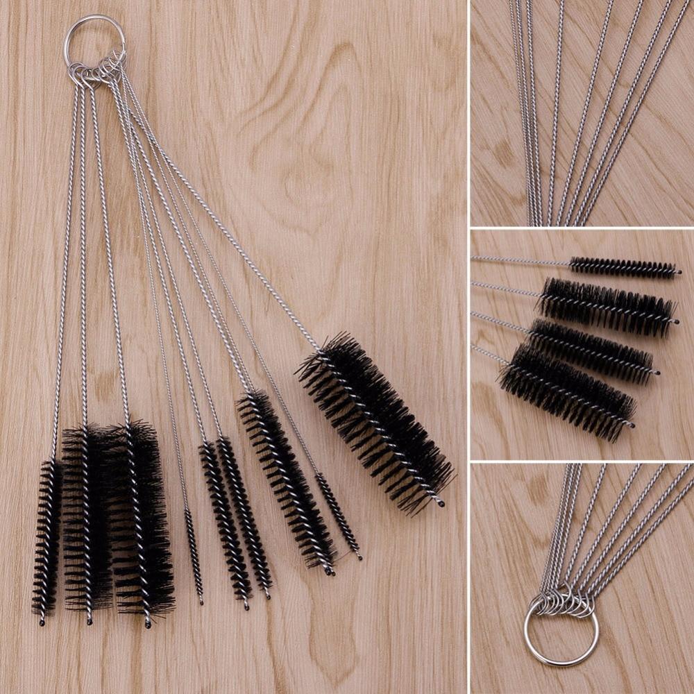 10Pcs Household Bottle Tube Cleaning Brush Set Home Kitchen Clean Tool Black -P101
