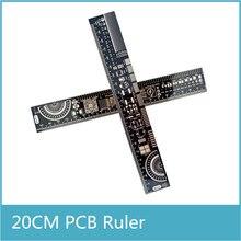 10 pcs Multifuncional PCB EDA Ferramenta de Medição de Alta Precisão Transferidor Régua 20 CM Preto