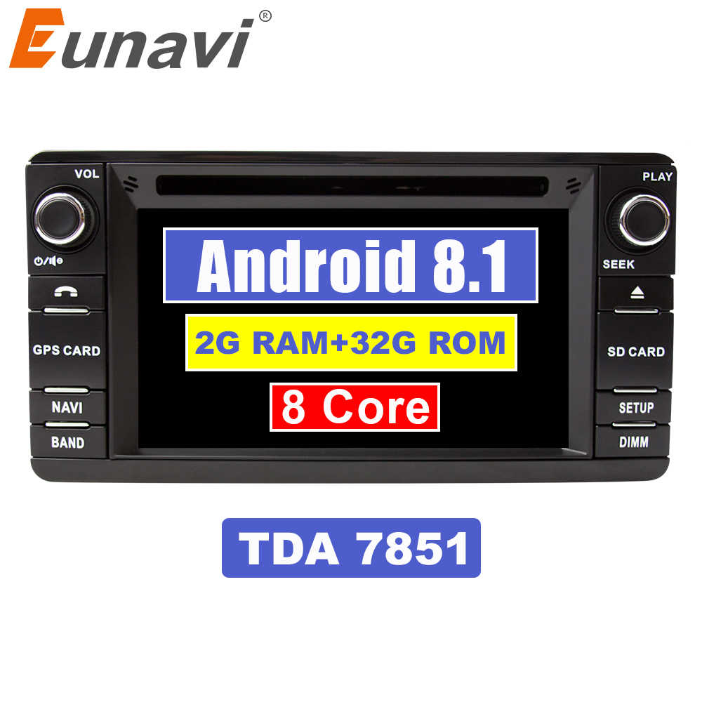 Eunavi Android 8,1 TDA7851 автомобильный dvd-плеер с двумя цифровыми входами для Mitsubishi Outlander 2013-2016 Pajero 2din Радио Автомобильная компьютер gps навигация