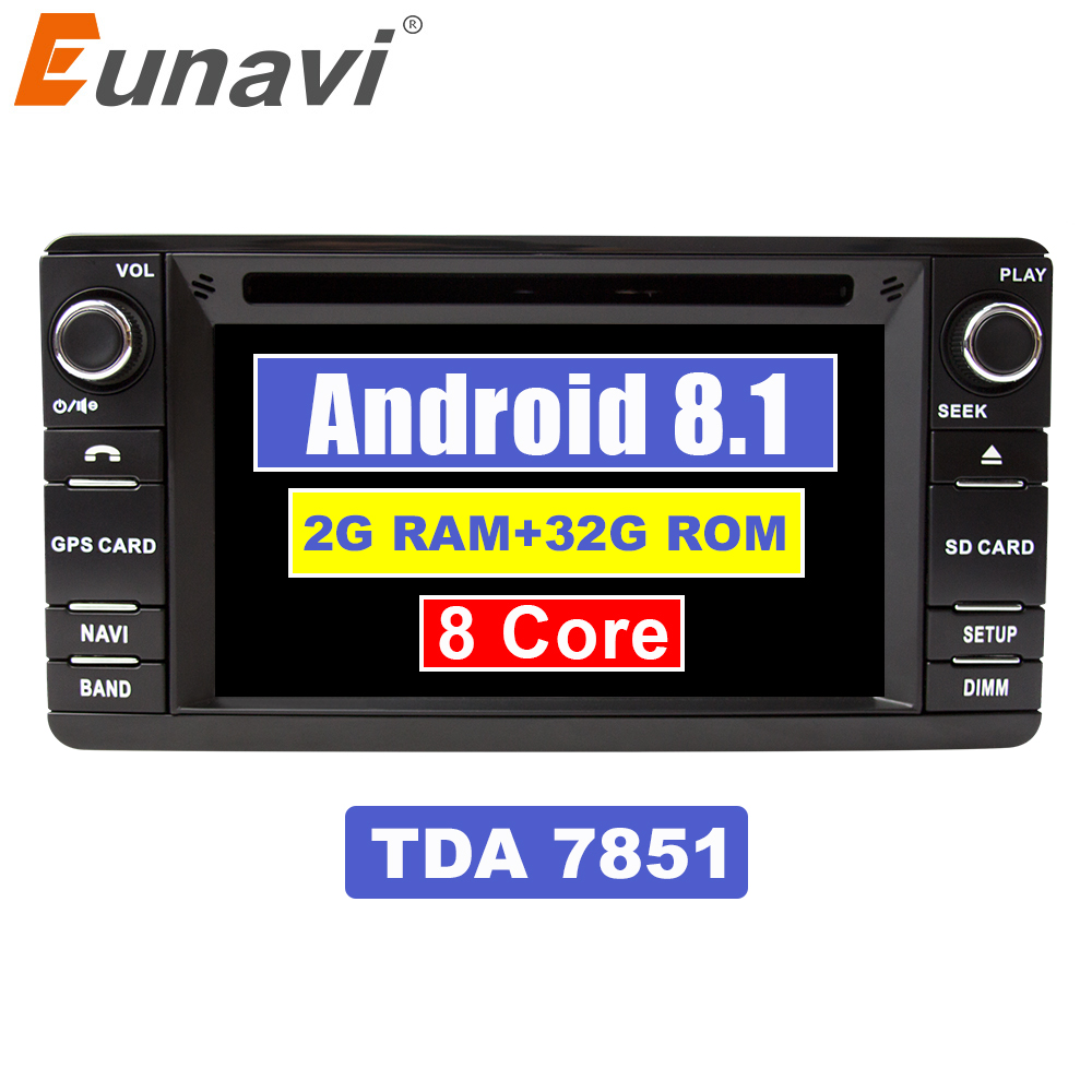 Lecteur DVD de voiture Eunavi Android 8.1 TDA7851 2 Din pour Mitsubishi Outlander 2013-2016 Pajero 2din Radio stéréo PC Navigation GPS