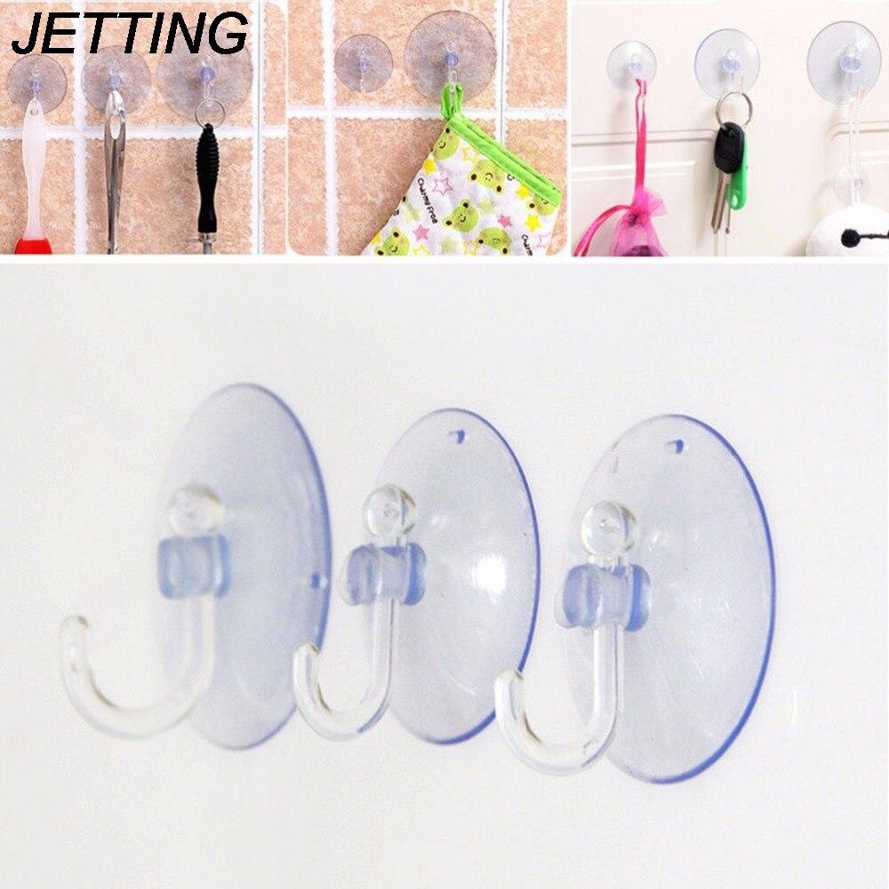 JETTING 1 PCS Wall Hooks Hanger Kitchen Bathroom Suction Cup Sucker Accessorie Transparent 2.5/3/3.5/8cm