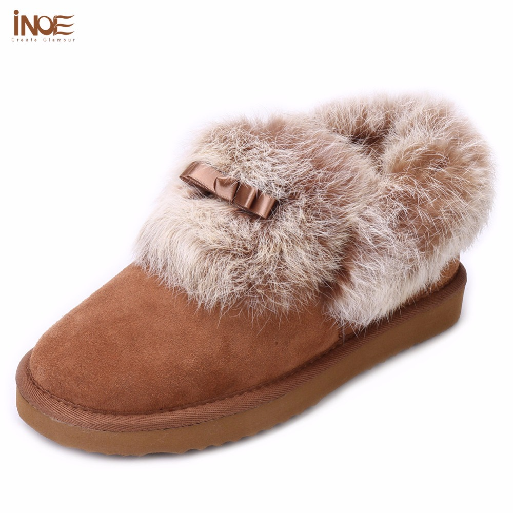 INOE Fashion Real sheepskin Suede leather fur lined short ankle women winter snow boots rabbit fur