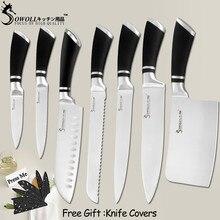 Кухонные ножи SOWOLL, ножи из нержавеющей стали, нож для очистки овощей Santoku, нож для нарезки хлеба, нож для измельчения, кухонная принадлежность, инструменты