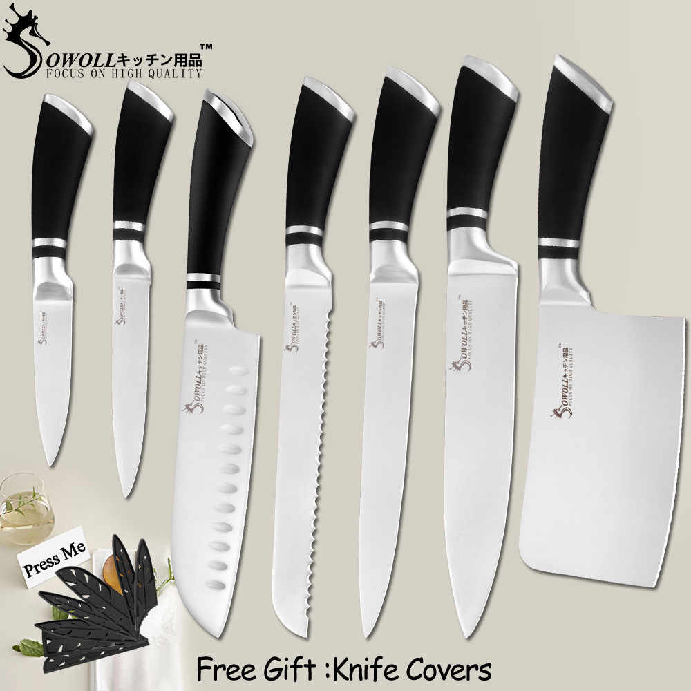 SOWOLL Kitchen Knives Stainless Steel Knives Paring Utility Santoku Bread Slicing Chef Chopping Knife Cooking Accessory Tools