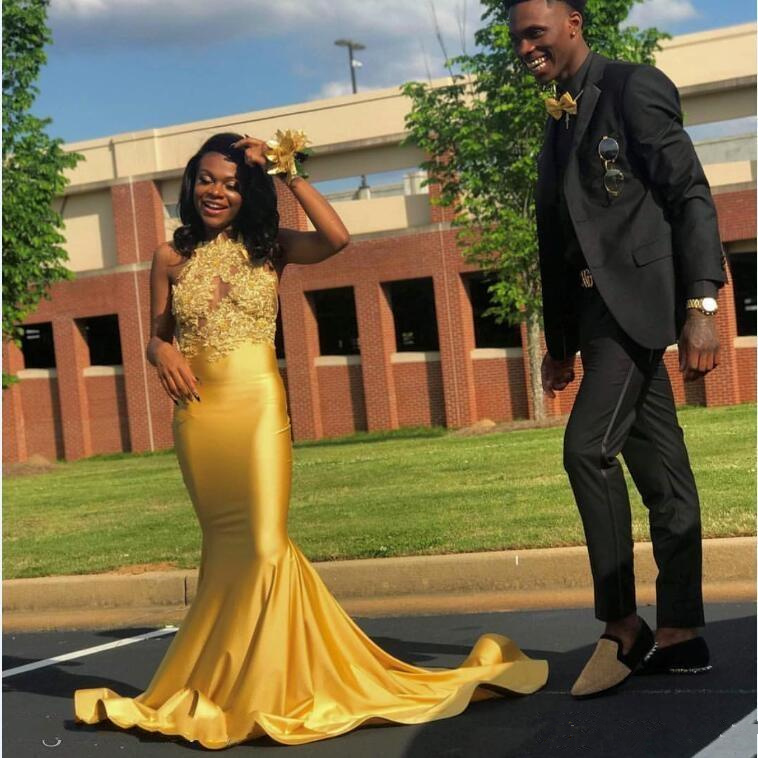 Yellow Mermaid 2020   Prom     Dresses   Halter Backless Sweep Train Appliques Beads Long Formal Evening Party Gowns Special Occasion